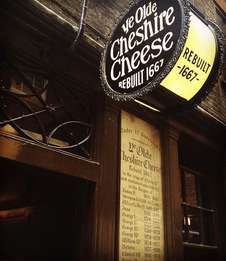 sign outside Ye Olde Cheshire Cheese pub in London