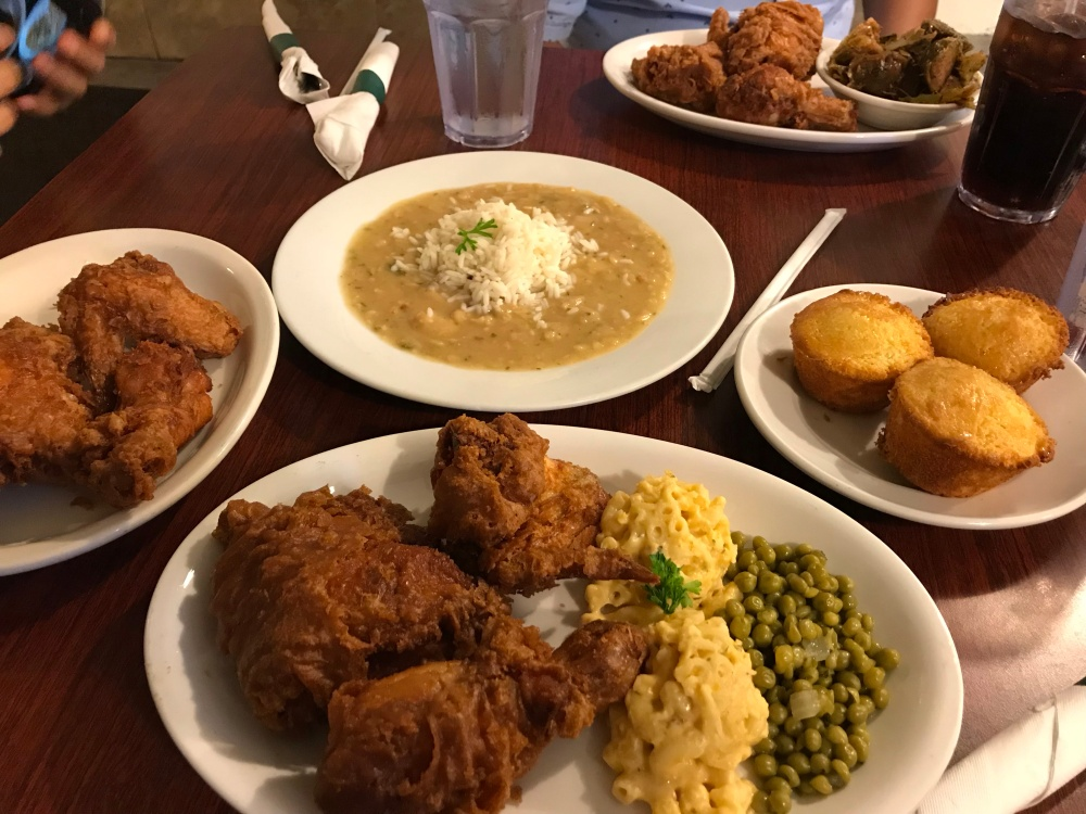 fried chicken, macaroni and cheese, cornbread muffins, and butter beans